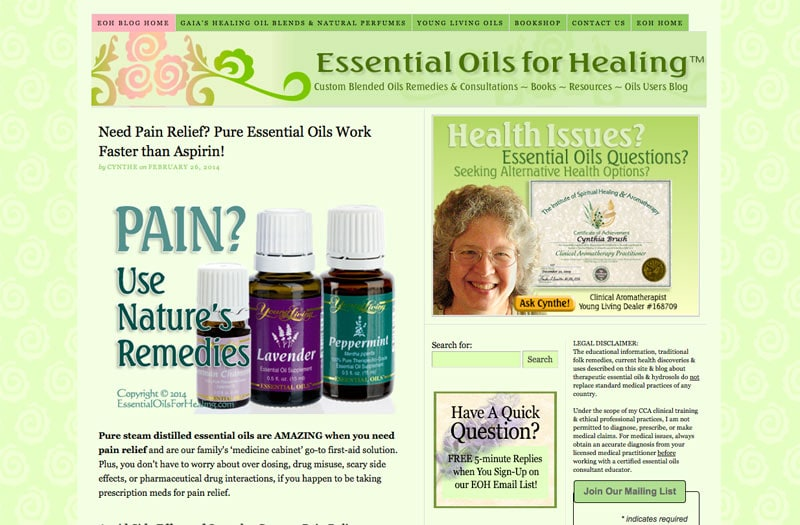 graphic design for essential oils practitioner website