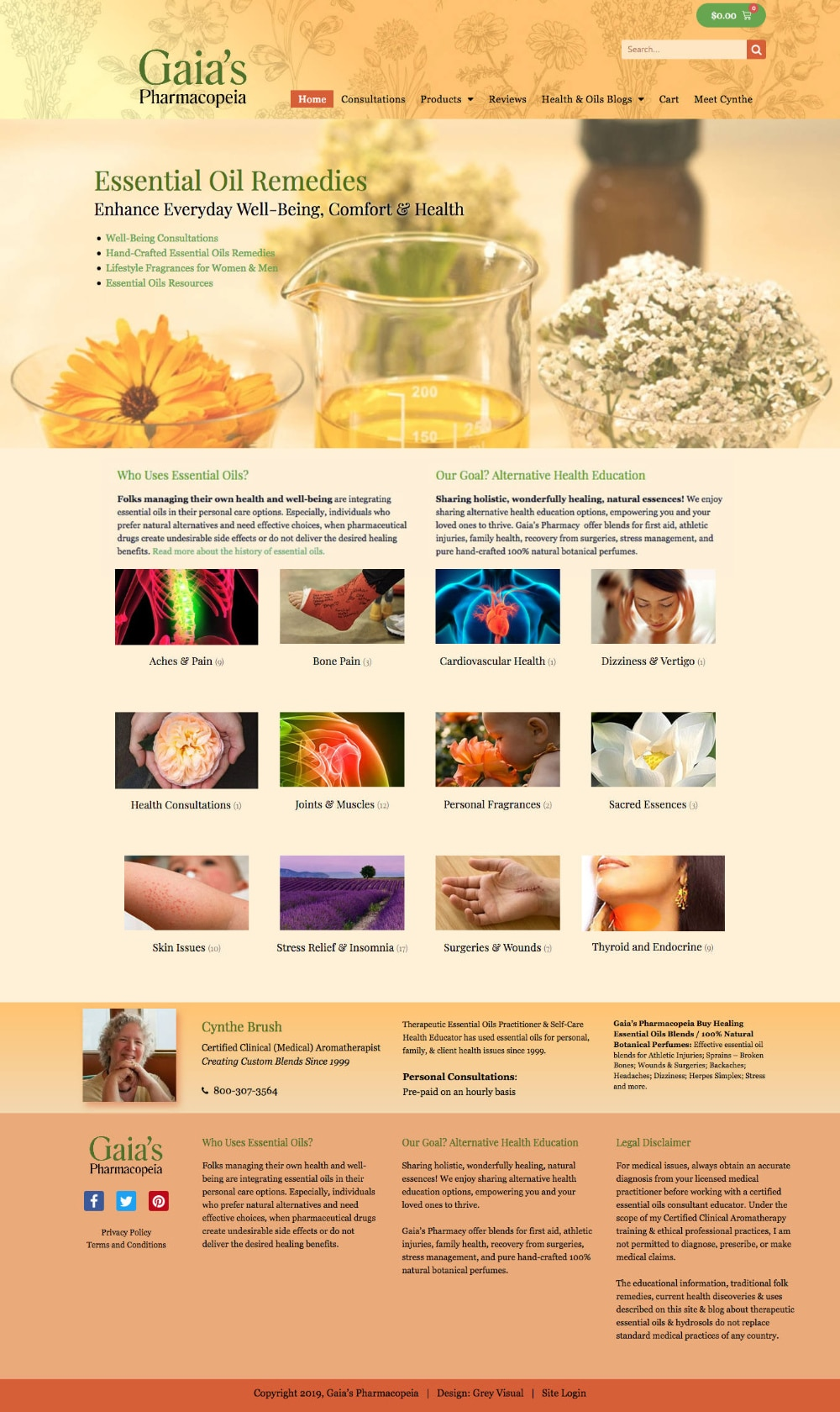 alternative health essential oils website design