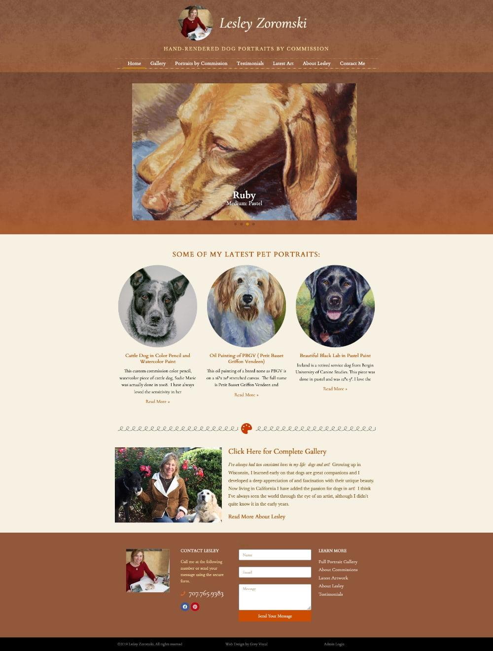 Full page website design for pet portrait artist