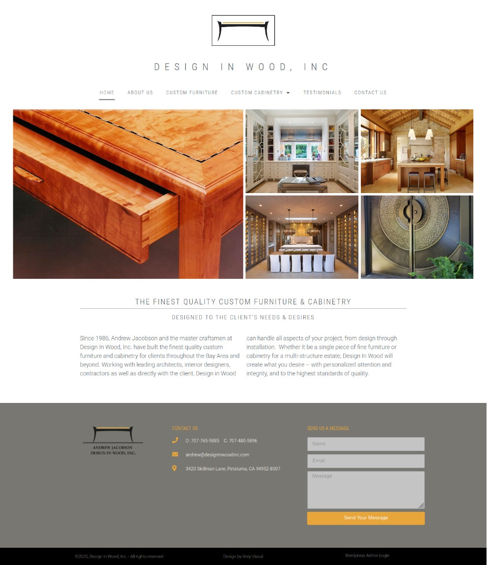 Website home page for custom woodworking shop