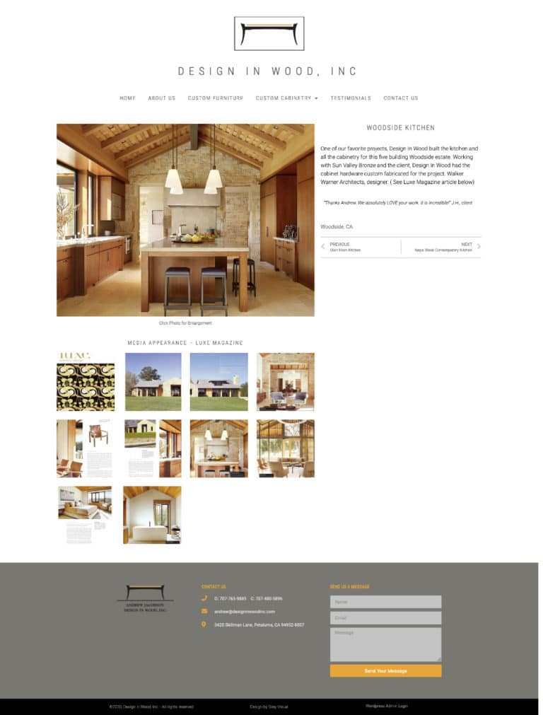 Kitchen project page for woodworker